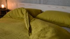 A luxurious collection of Chartreuse pure linen bedding. This natural linen bedding is pre-washed, softening the fibres for a relaxed, informal look.