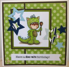 using King of the Wild Things by Christy Croll for Stamping Bella. I coloured him with copics and lyra pencil shadow underneath. The papers are Echo Park Little Boy. The stars are made using nesties. Sentiment in PC-generated and cut out using a fishtail banner die from Die-namics.