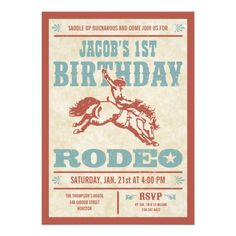 Cowboy Birthday Rodeo Party Invitations Cowboy birthday invitations with a red and blue vintage western rodeo poster design. Customize to fit any age. Great for a cowboy themed birthday party. Fun birthday party invites - customize your invitations. Rodeo Birthday Parties, Cowboy First Birthday, Rodeo Party, Cowboy Theme Party, Birthday Ideas, 2nd Birthday, Country Birthday, Horse Party, Birthday Stuff