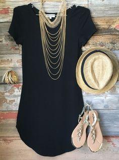 Fun in the Sun Tunic Dress: Black