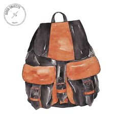 Watercolor illustrations of everyday objects. Good Objects Illustration by Valeria Rienzi. Watercolor Pattern, Watercolor Illustration, Backpack Drawing, Evelyn Henson, Backpacking Food, Dress Drawing, Fashion Portfolio, Leather Backpack, Cool Art