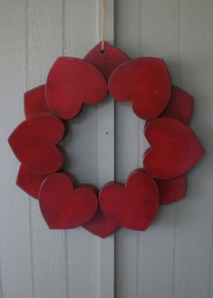 BIG Primitive Red Wooden Heart Wreath Indoor Outdoor Wood Hearts Ring 21 Inch…