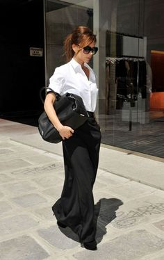 Victoria Beckham Comme Des Garcons 1970s Style Outfit