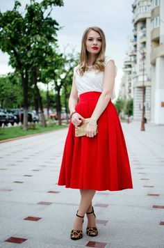Pink Wish: FEELING LIKE A MODERN PRINCESS midi skirt, red, lace, animal print, leopard, studded, zara studded sandals, glitter, sparkle, clutch, princess, lips necklace, blonde, red lips