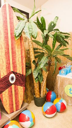 Themed decor at a Beach party!  See more party ideas at CatchMyParty.com!  #partyideas #beach