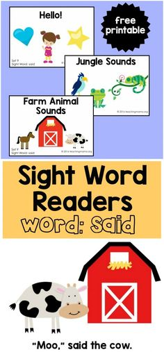 Free sight word readers for the word said. Preschool Sight Words, Teaching Sight Words, Dolch Sight Words, Sight Word Activities, Cvc Words, Preschool Activities, Sight Words Printables, Sight Word Worksheets, Free Printables
