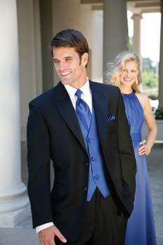 Royal blue, white, black tux