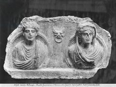 Funerary relief of a couple, from Palmyra, Syria (marble) (b/w photo). (2nd century AD) / Louvre, Paris, France / Giraudon / The Bridgeman Art Library