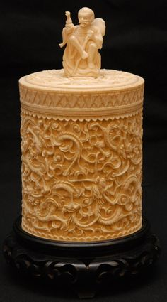 Antique Chinese Hand Carved Ivory Covered Brush Pot. 19th c.