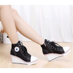 Casual Lace Up Canvas High Heel Women Shoes ff0536a05