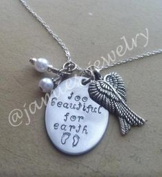 Hand Stamped In Memory of Baby Miscarriage, Stillborn or Infant Loss Necklace- Hand Stamped Child Loss Necklace- In Memory of Baby or Child. $25.00, via Etsy.