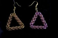 These Gold and Pink; Pink and Gold Triangle Earrings may be my favorite Earrings. They are 1 inch wide and super fun.