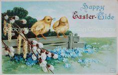 Happy Easter Tide Antique Postcard Illustration Chicks Forget Me Not Flowers Digital Image Download, Victorian Vintage Instant Download