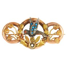 Victorian 9k Gold, 14k Gold, Turquoise, Seed Pearl and Coral Brooch - Mexico  c.19th Century