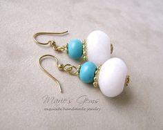 White Jade Earrings Turquoise Earrings Gemstone by MariesGems, $17.00