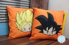 Super Saiyan Goku and Goku Decorative Pillow Cover Bundle, 16 x 16, Anime Pillow, Dragon Ball z, Pillow Cover, Home Decor Gift ideas, Orange  https://www.etsy.com/listing/471628000/custom-order-pillow-cover-bundle