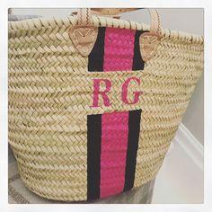 The Ibiza basket bag in pink and green varsity colour combo Colour Combo, Color, Basket Bag, Ibiza, Pink And Green, Straw Bag, Bags, Style, Handbags