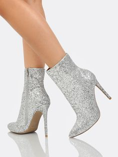 SheIn offers Glitter Ankle High Boots SILVER & more to fit your fashionable needs. High Ankle Boots, Heeled Boots, Shoe Boots, Ankle Booties, Silver Boots, Glitter Boots, Silver Heels, Fashion Heels, Fashion Boots