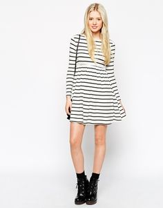 Enlarge ASOS PETITE Exclusive Babydoll Swing Dress in Stripe
