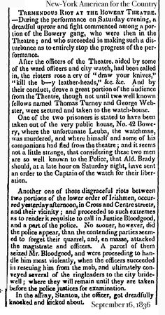 1836.9.16. Chichester Gang fighting in balcony of Bowery Theatre.