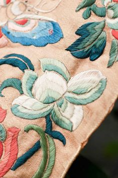 antique silk embroidery - fragment from a chinese coat