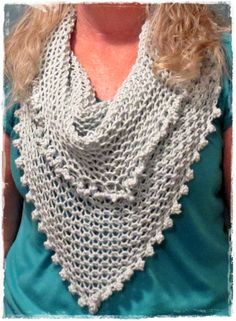Loom Knitting knotted cowl completed on a 50 peg long loom.