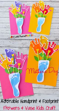 Adorable Hand and Footprint Mother's Day Gift Idea for kids.
