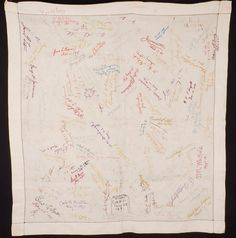 Antique West Point US Military Embroidered Signature Quilt Tablecloth