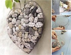 A Piece of discarded Chicken wire, and a few collected pebbles! would be pretty inside or out. - Wire and Stone Heart - DIY home decor craft project made from wire and pebbles. Decor Crafts, Diy Home Decor, Diy Crafts, Coastal Decor, Hanger Crafts, Rustic Crafts, Rock Crafts, Ideas Para Decorar Jardines, Hanging Wire Basket
