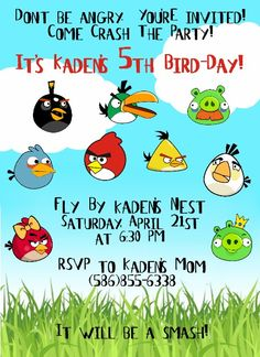 Angry Birds Birthday Invitation from  www.amyscustomgreetings.com