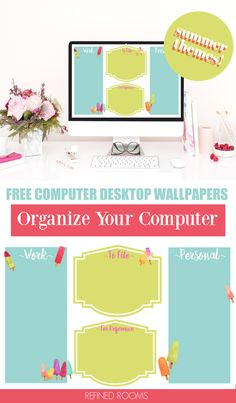 Use these free computer desktop organizer wallpapers to kick digital clutter to the curb! Download these cute summer-themed desktop wallpapers (both labeled and unlabled versions) to organize all of your file folders and apps into meaningful categories. It's a simple way to organize your computer and increase productivity! Desktop Organization, Paper Organization, Life Organization, File Folders, Increase Productivity, Planning Your Day, Wallpaper Free Download, Desktop Wallpapers, Organize