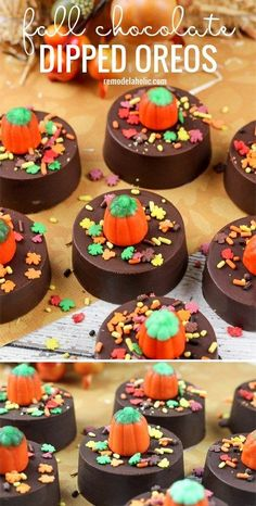 chocolate pops The perfect fall or halloween treat! Fall chocolate dipped oreos via Halloween Desserts, Halloween Chocolate, Halloween Treats, Halloween Goodies, Halloween Stuff, Fall Halloween, Happy Halloween, Halloween Party, Fall Dessert Recipes