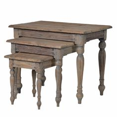 Colonial Reclaimed Pine Nest Of Three Tables