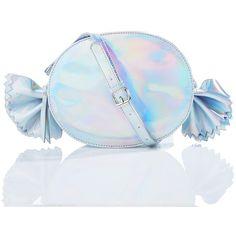 Gimme Candy Bag ($30) ❤ liked on Polyvore featuring bags, handbags, shoulder bags, nila anthony, iridescent purse, holographic handbag, blue handbags and iridescent handbag