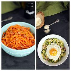 Healthy Spiralized Carbonara - two ways!