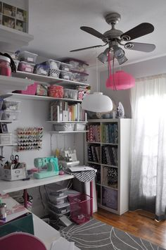 Shelves in the Craft Room. This could work for a combination guest room/craft room.