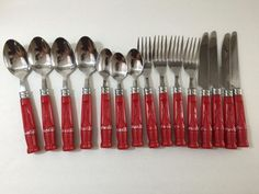 Coca Cola #Coke Stainless Silverware #Flatware Red Logo Bottle Handles 15 Pieces by Gibson