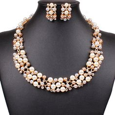 Women's Party Wedding Jewellery Sets Elegant Rose Gold Plated Faux Pearl Crystal Collar Necklace Earrings Set