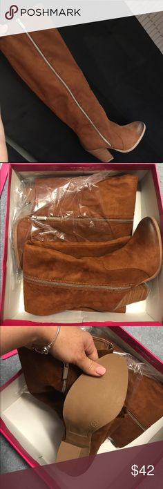 Cognac high knee boots Shoe Dazzle New with tags, still on the box. Cognac-suede color. High to the knee .. Shoe Dazzle Shoes Winter & Rain Boots