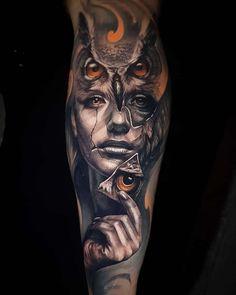Tattoo artist Jayden Pengilly is part of Owl tattoos Drawings Artists - Tattoo artist Jayden Pengilly, color and black&grey authors portrait realism tattoo, surrealism Australia Tattoo Dotwork, Forearm Tattoos, Body Art Tattoos, Tattoo Ink, Portrait Tattoo Sleeve, Movie Tattoos, Bicep Tattoo, Mask Tattoo, Skull Tattoos