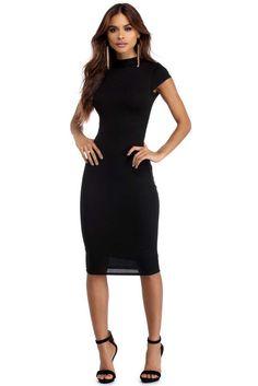 Black Posh Midi Dress | WindsorCloud