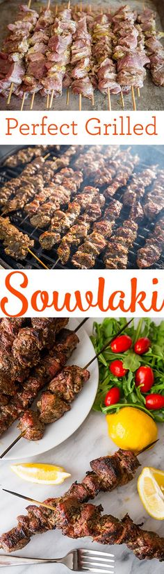 Perfect grilled souvlaki- this is the secret to tender, juicy grilled pork souvlaki! Perfect grilled souvlaki- this is the secret to tender, juicy grilled pork souvlaki! Grilling Recipes, Pork Recipes, Cooking Recipes, Perfect Grill, Greek Cooking, Greek Dishes, Comida Latina, Carne Asada, Grilled Pork