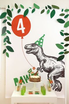 Dino Party Ideen The right decoration for the dinosaur party Bridal Lingerie on Your Wedding Night A Fourth Birthday, Dinosaur Birthday Party, 4th Birthday Parties, Happy Birthday, Birthday Ideas, Dinosaur Party Decorations, Birthday Party Decorations, Birthday Backdrop, Ideas Decoracion Cumpleaños