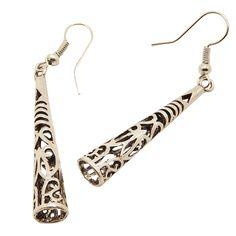EQ015 Tibetaans Zilveren Kleur Holle Gesneden Pijler Dangle Fashion Vintage Oorbellen Voor Vrouwen Meisjes Valentijnsdag Gift Sieraden