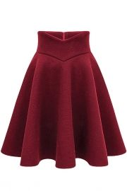 Elegant Solid Color A-line High Waist Pleated Skirt