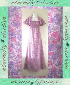 Original 70s VTG Angel Sleeved Long Dress Boho Hippy Folk Wedding Festival 10 12