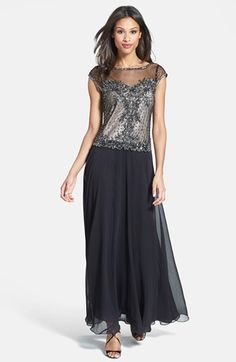 J Kara Embellished Mock Two-Piece Chiffon Gown (Regular & Petite) available at #Nordstrom