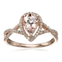 Watch your loved one's face light up when you present this 14k rose gold ring, made with 64 round-cut diamonds and a pear-cut morganite gemstone for a fashionable look. Morganite: Gemstones: One Cut: