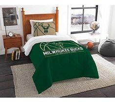 NBA Milwaukee Bucks Comforter Twin Set Sports Patterned Bedding Team Logo Fan Merchandise Team Spirit Basketball Themed National Basketball League