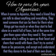 How to care for your Aquarius ~ kind of makes you feel like a pet